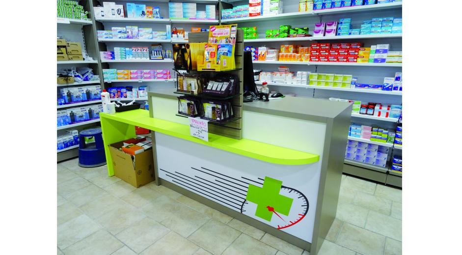 Comptoir de pharmacie mobilier et agencement croix de for Pharmacie de la claire