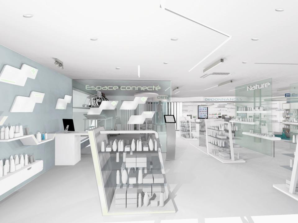 ph connectee vue entr e agencement de pharmacie commerce magasinagencement de pharmacie. Black Bedroom Furniture Sets. Home Design Ideas