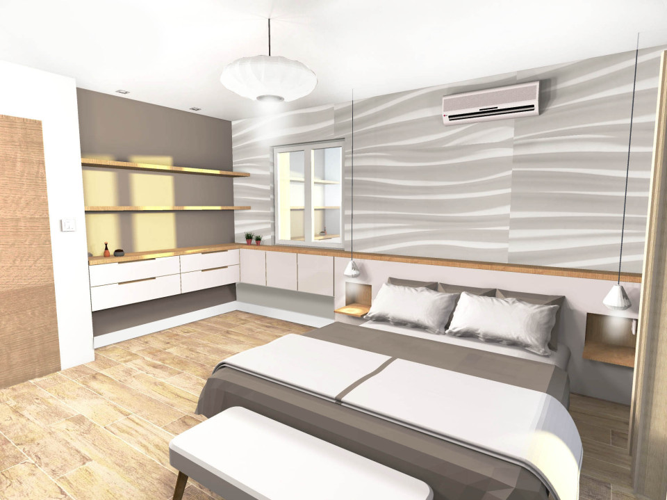 Merveilleux Chambre Parentale Meuble Sur Mesure Luminaire Et Habillage Mur Panel Piedra