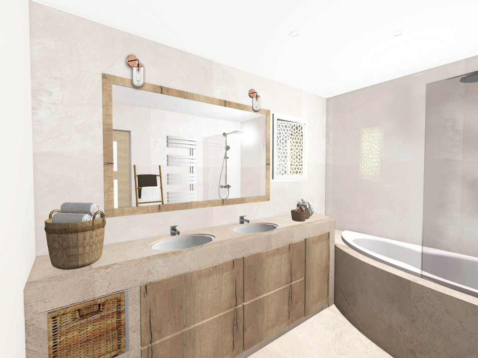 salle-de-bain-naturelle-inspiration-spa-béton-ciré-bois-décoration ...